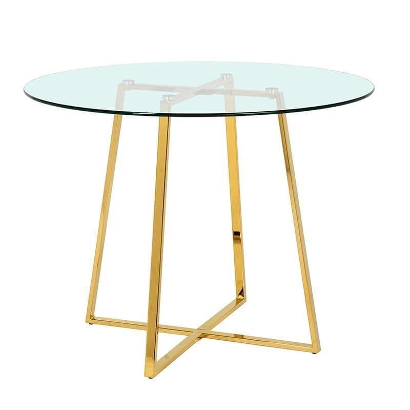 Τραπέζι γυάλινο/μεταλλικό χρυσο/διάφανο 110x110x75cm Inart 3-50-224-0015