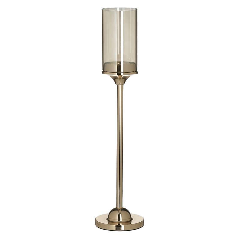 Κηροπήγιο μεταλλικό/γυάλινο χρυσό/διάφανο Υ42cm Inart 3-70-151-0364