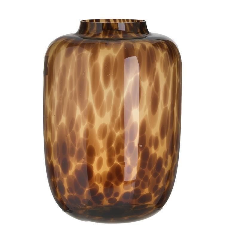 Βάζο διακοσμητικό γυάλινο μαύρο/μελί 24x24x34cm Inart 3-70-670-0041