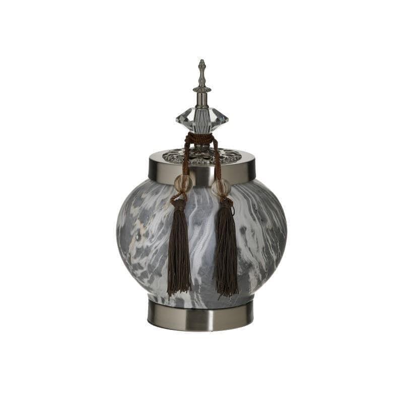 Διακοσμητικό βάζο με καπάκι κεραμικό λευκό/γκρι 17x17x28cm Inart 3-70-743-0214