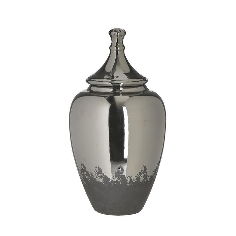 Βάζο διακοσμητικό κεραμικό ασημί/γκρι 17x17x33cm Inart 3-70-685-0245