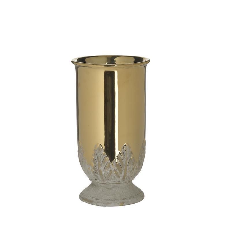 Βάζο διακοσμητικό κεραμικό χρυσό/λευκό 12x12x20cm Inart 3-70-685-0254