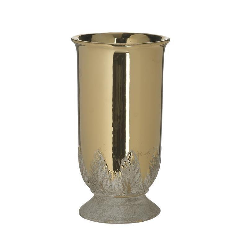 Διακοσμητικό βάζο κεραμικό χρυσό/λευκό 14x14x26cm Inart 3-70-685-0255