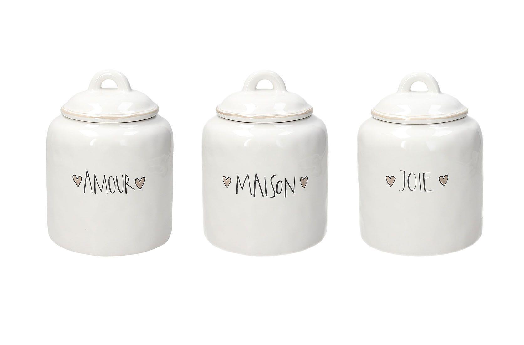 Βάζο αποθήκευσης Maison 1600cc stoneware λευκό 14x14x19cm Tognana Amour