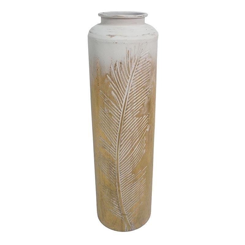 Διακοσμητικό βάζο μεταλλικό χρυσό/λευκό 25x25x87cm Inart 3-70-447-0193