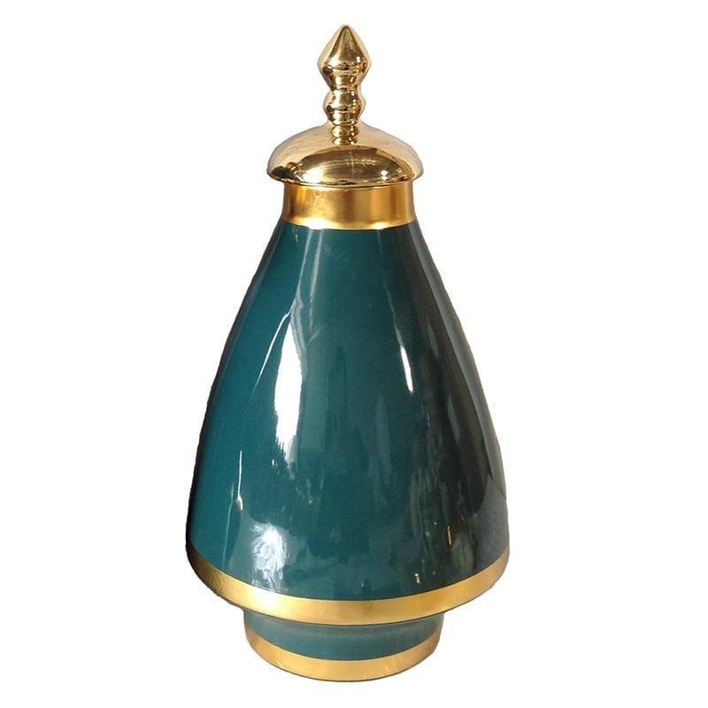 Διακοσμητικό βάζο κεραμικό πράσινο/χρυσό 18x18x35cm Inart 3-70-902-0174