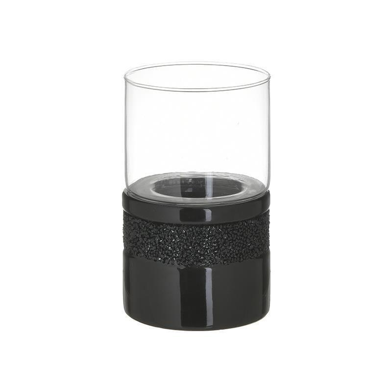 Κηροπήγιο κεραμικό/γυάλινο μαύρο/διάφανές 11x11x17cm Inart 3-70-129-0174