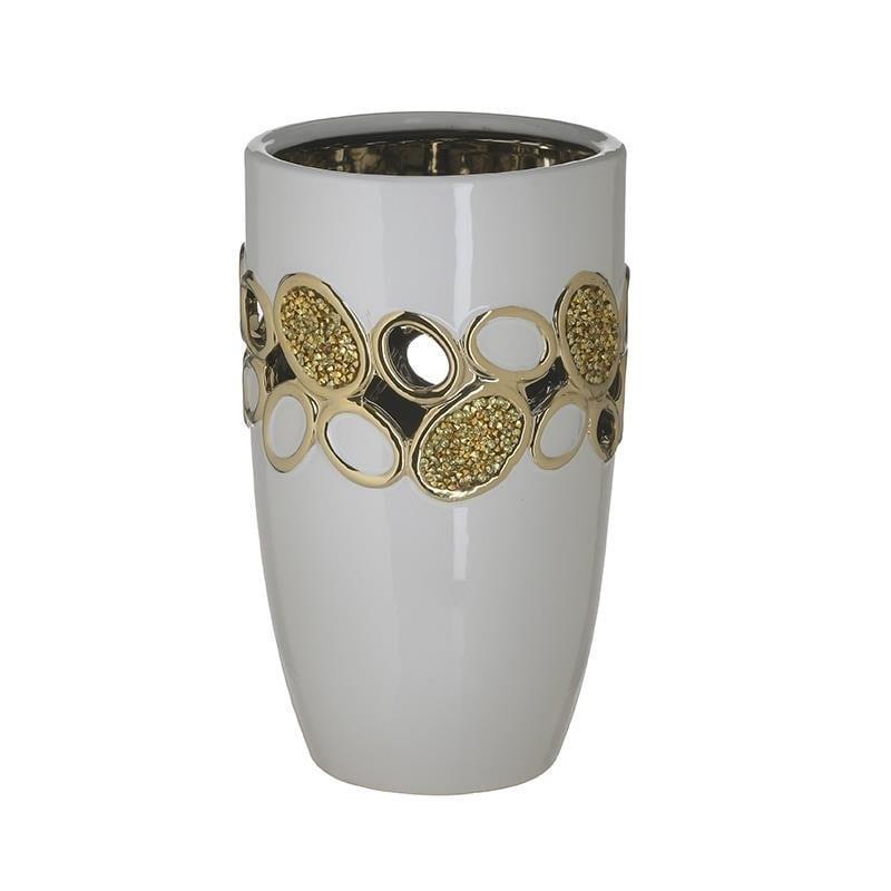 Βάζο διακοσμητικό κεραμικό λευκό/χρυσό 14x23cm Inart 3-70-129-0187