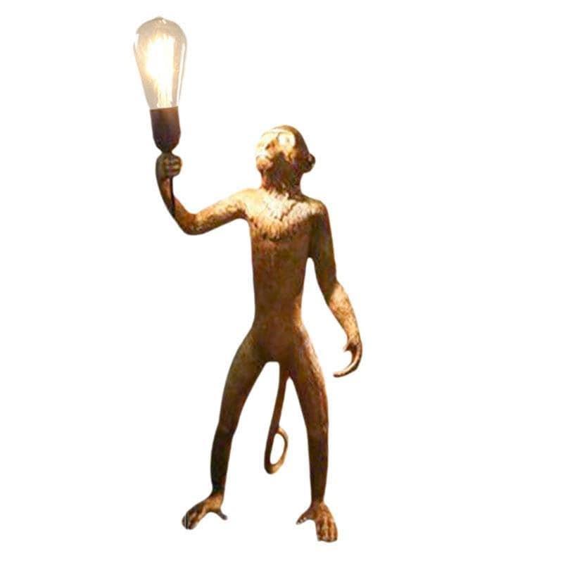 Φωτιστικό επιτραπέζιο πίθηκος polyresin χρυσό 33x28x55cm Inart 3-15-752-0013