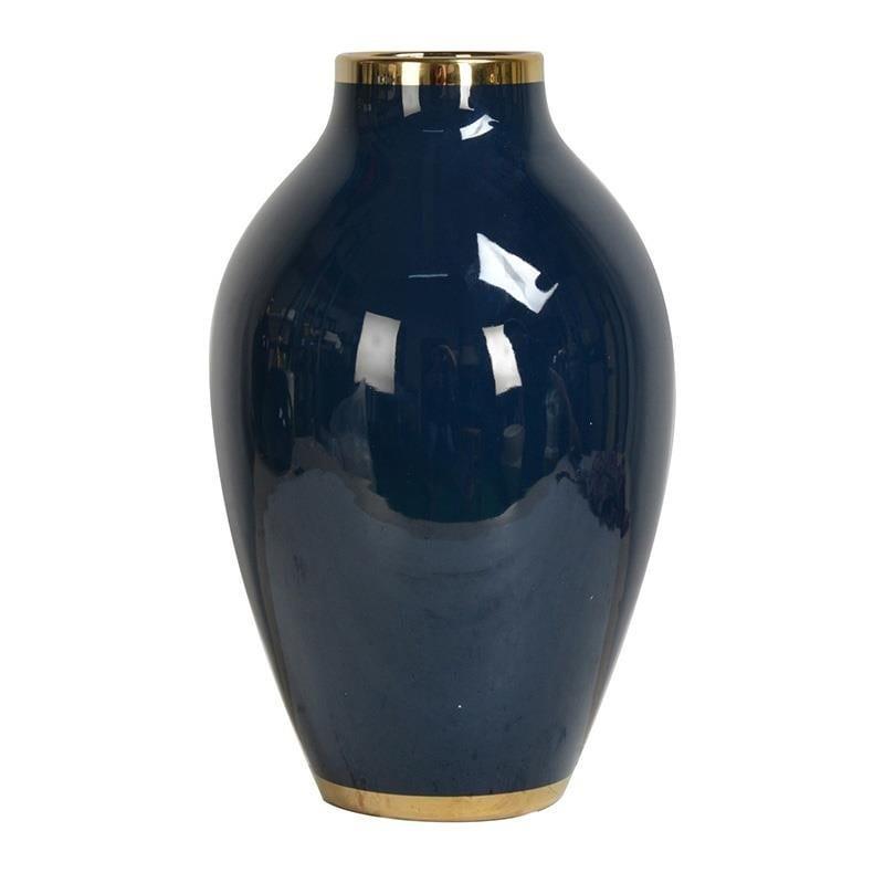 Βάζο διακοσμητικό κεραμικό μπλε/χρυσό 22x22x35cm Inart 3-70-046-0005