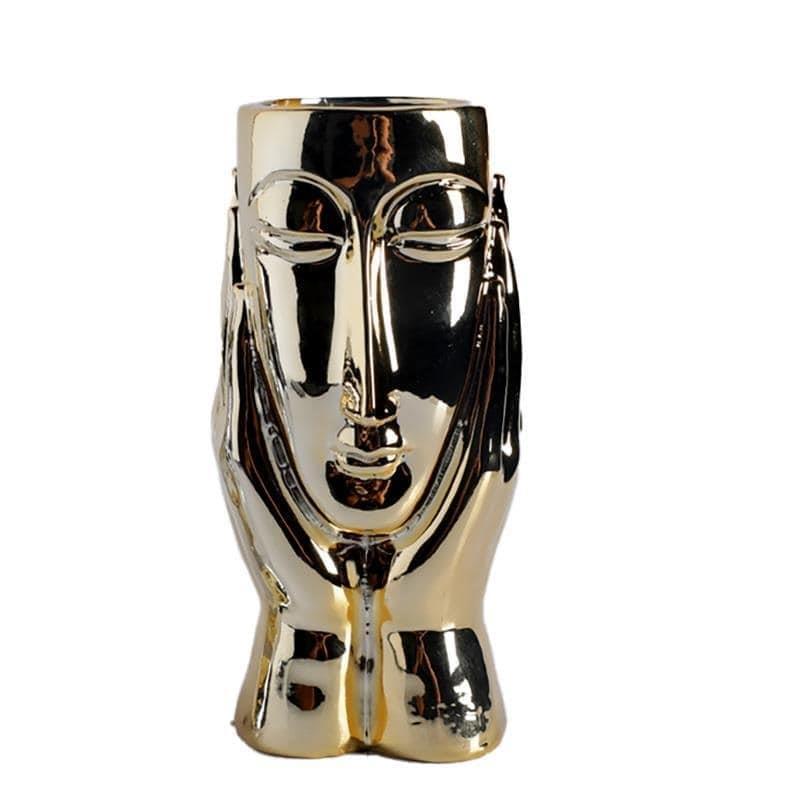 Βάζο διακοσμητικό πρόσωπο κεραμικό χρυσό 9x9x16cm Inart 3-70-216-0098