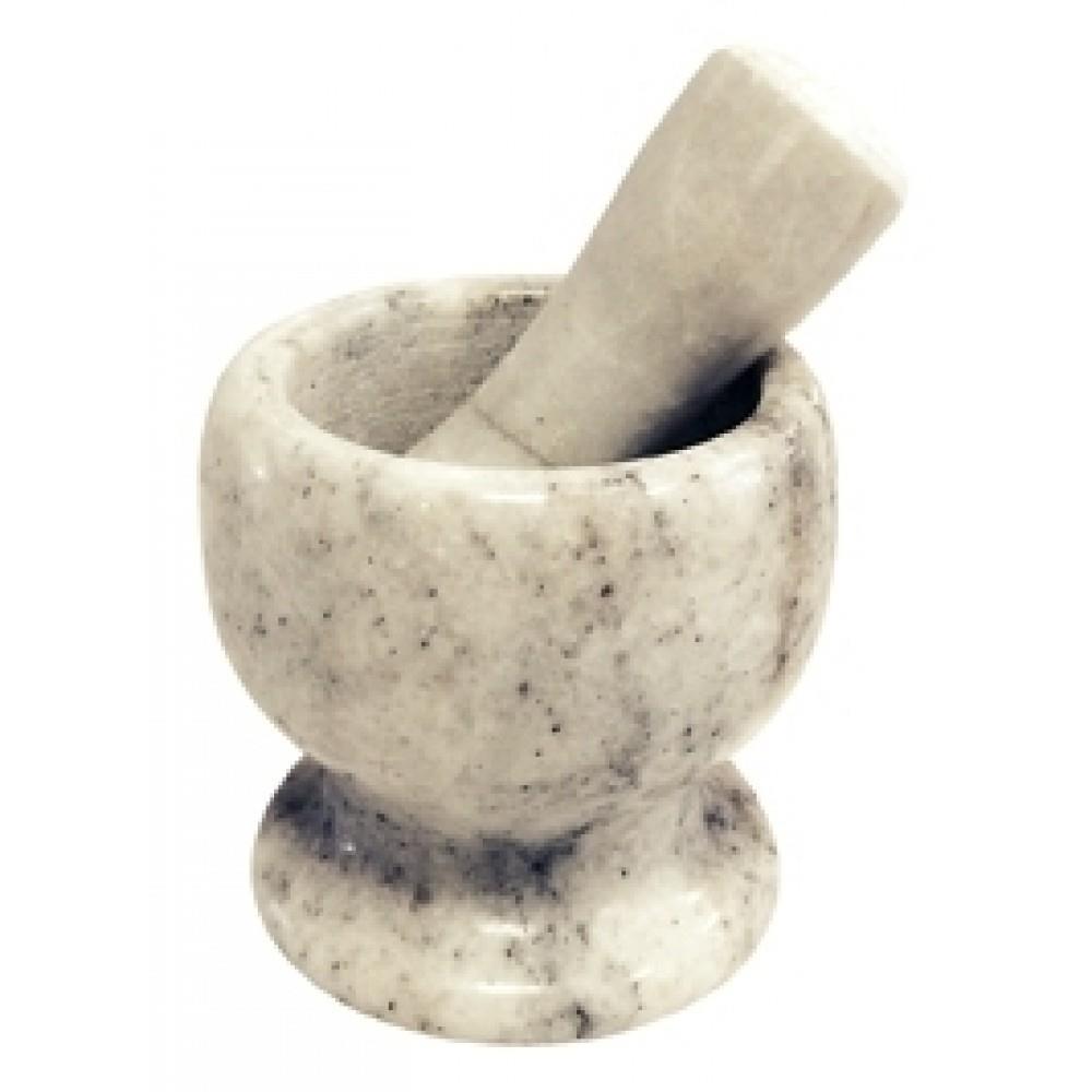 Γουδί και γουδοχέρης μαρμάρινο λευκό/μαύρο 8.5×8.5x11cm Venus 14531