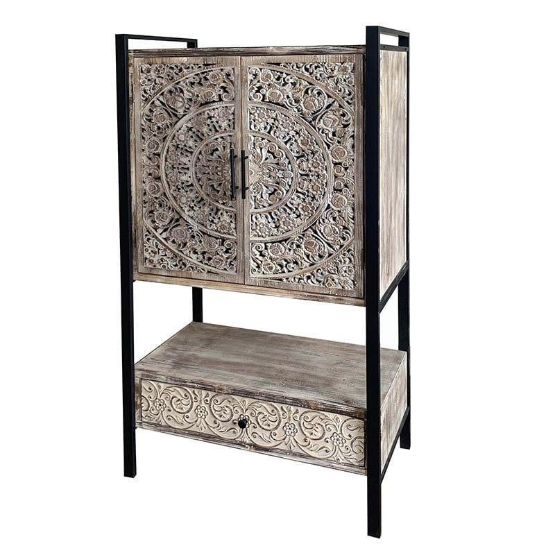 Ντουλάπι μεταλλικό/ξύλινο μαύρο/natural 80x40x150cm Inart 3-50-109-0012