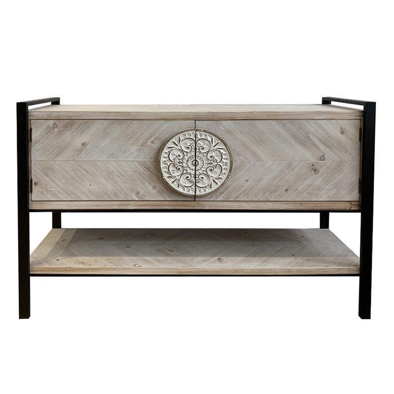 Μπουφές ξύλινος/μεταλλικός μαύρος/natural 120x35x80cm Inart 3-50-109-0016