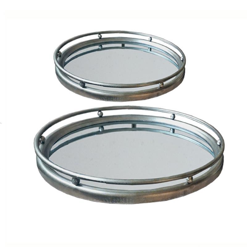 S/2 Δίσκοι σερβιρίσματος με καθρέπτη μεταλλικοί ασημί 46x46x5cm/38x38x5cm