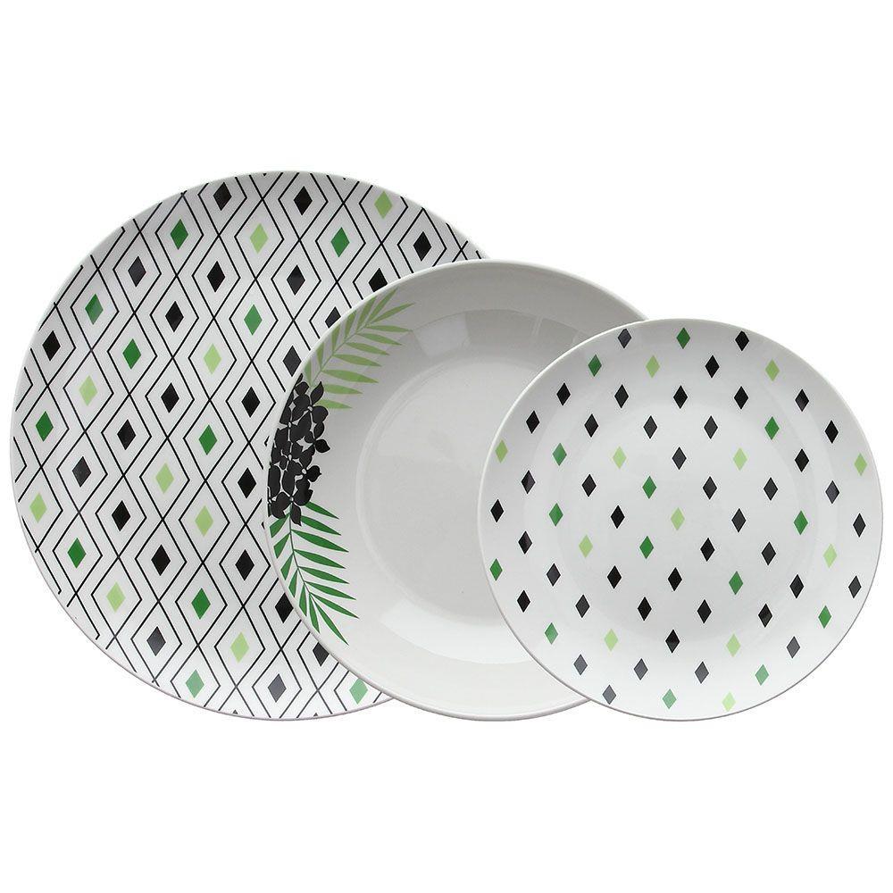 S/18 Σερβίτσιο φαγητού πορσελάνινο πράσινο/μαύρο/λευκό Tognana Moon Crazy Summer