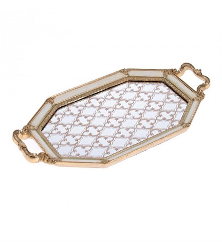 Δίσκος σερβιρίσματος/Καθρέπτης polyresin εκρού/χρυσός 41x22x3cm Inart 3-70-117-0033