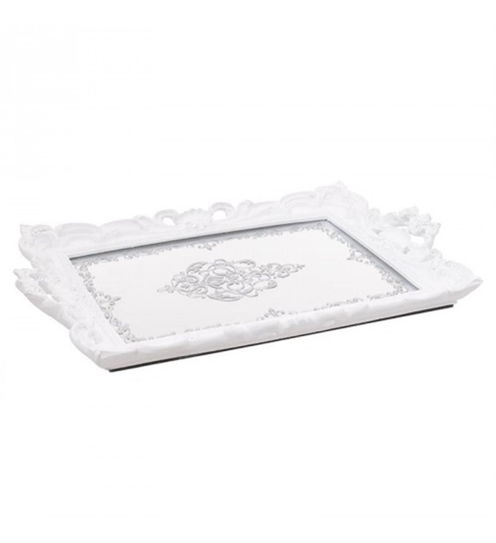 Δίσκος σερβιρίσματος/Καθρέπτης polyresin λευκός 40x26x3cm Inart 3-70-383-0007