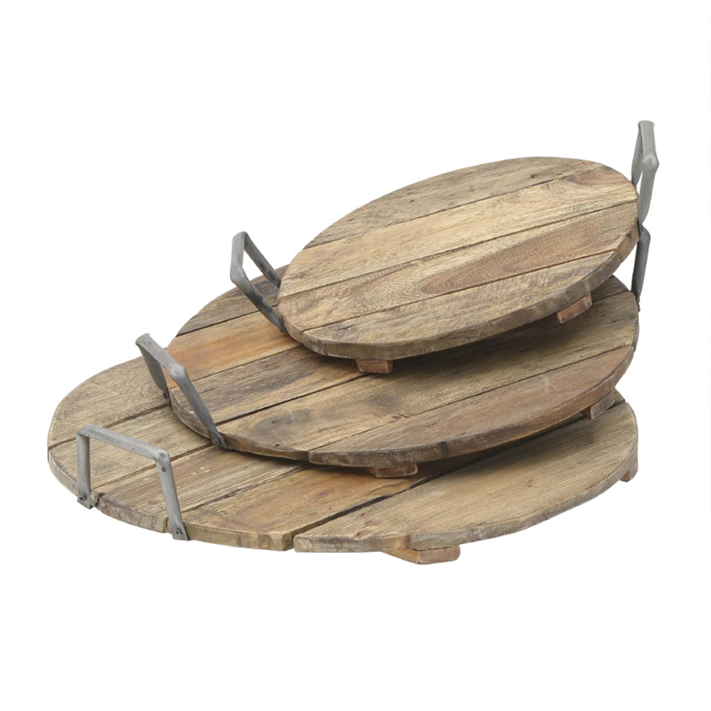Δίσκος ξύλινος/μεταλλικός natural 55x11cm Inart 3-70-521-0006