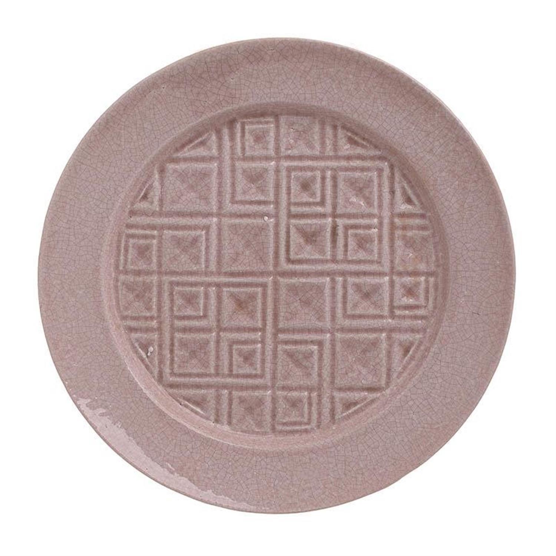 Πιατέλα διακοσμητική κεραμική αντικέ ροζ Δ32x4cm Inart 3-70-685-0127