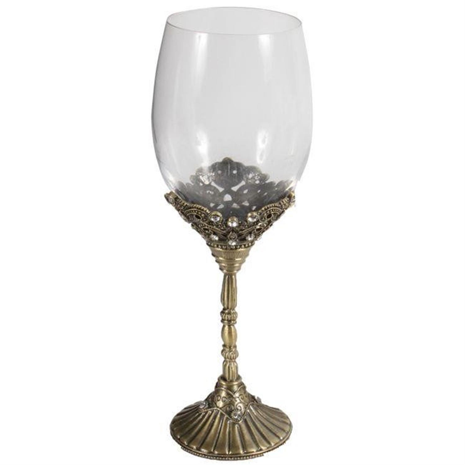 Ποτήρι με ζιργκόν μεταλλικό μπρονζέ Υ/22cm Inart 3-70-744-0042