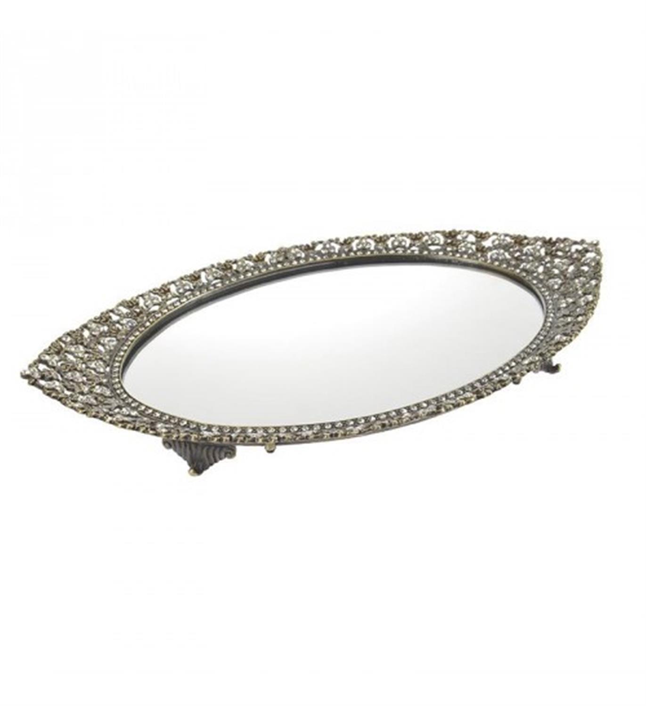 Δίσκος σερβιρίσματος/Καθρέπτης μεταλλικός αντικέ χρυσός 35x22x4cm Inart 3-70-744-0085