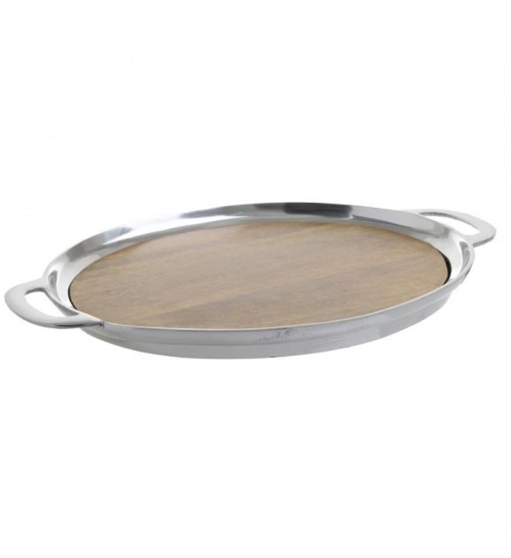Δίσκος σερβιρίσματος αλουμινίου/ξύλινος ασημί/καφέ 43x30x4cm Inart 3-70-785-0001