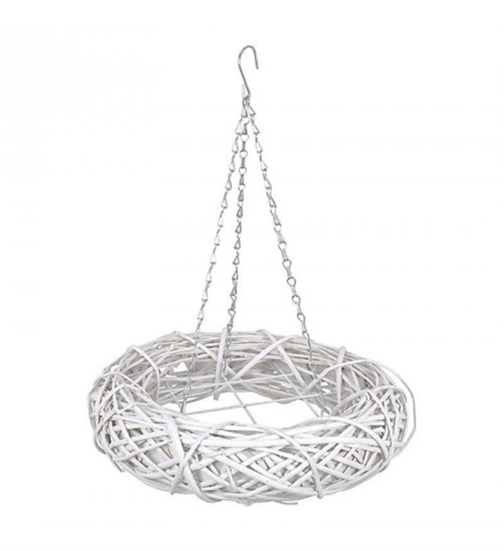 Διακοσμητικό κρεμαστό στεφάνι με κλαδιά ξύλινο λευκό 45x45x10/50cm Inart 3-70-823-0064