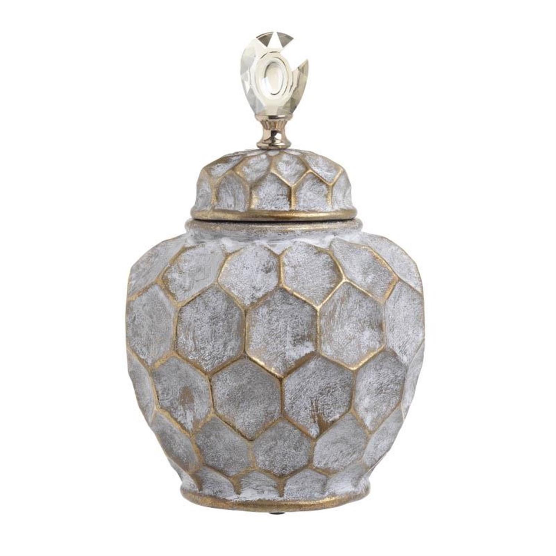 Δοχείο διακοσμητικό με καπάκι κεραμικό γκρι/χρυσό 24.5×17.5×35.5cm Inart 3-70-902-0002