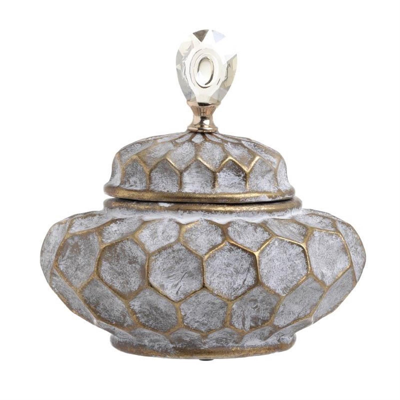 Δοχείο διακοσμητικό με καπάκι κεραμικό γκρι/χρυσό 28.5x19x27cm Inart 3-70-902-0003