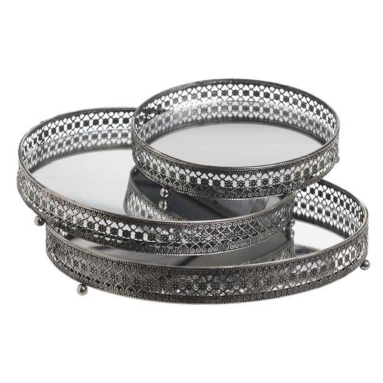 S/3 Δίσκος σερβιρίσματος μεταλλικός με καθρέπτη αντικέ ασημί 28x4cm Inart 3-70-912-0038