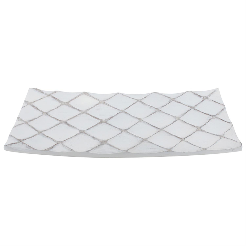 Πιατέλα διακοσμητική ρόμβος polyresin λευκή/μπεζ 41x22x5cm Inart 3-70-932-0048