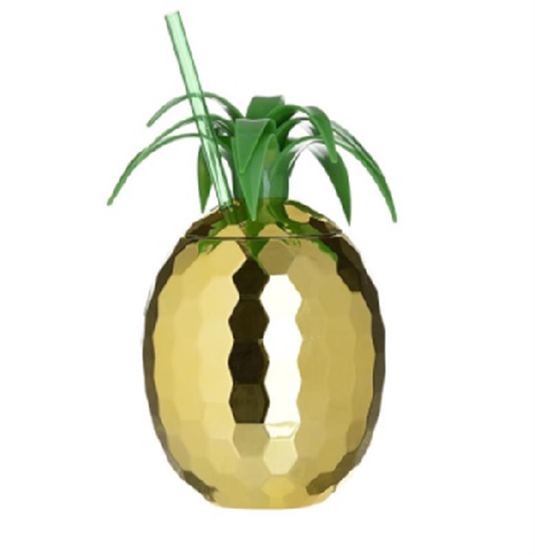 Ποτήρι ανανάς 500ml pl χρυσό/πράσινο Inart 6-60-316-0001