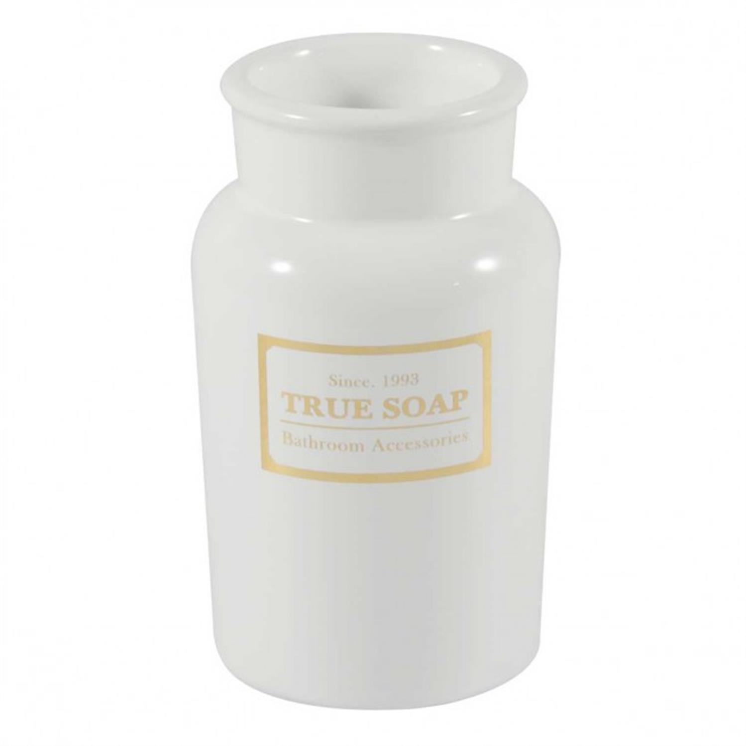 Θήκη για οδοντόβουρτσες true soap κεραμική λευκή 7.7×7.7x13cm Marva 478149