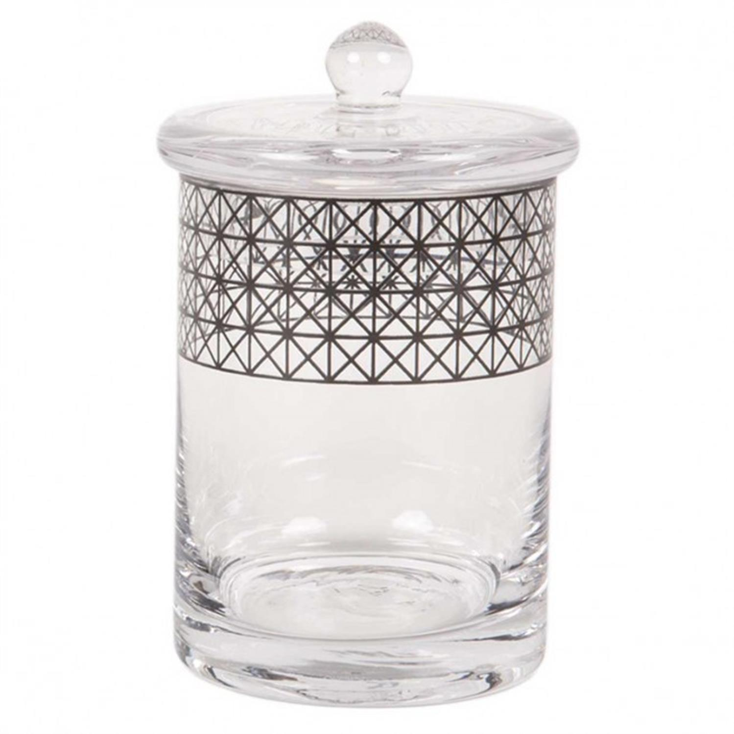 Βάζο με καπάκι γυάλινο διάφανο/μαύρο 9.5×9.5x17cm Marva 787021