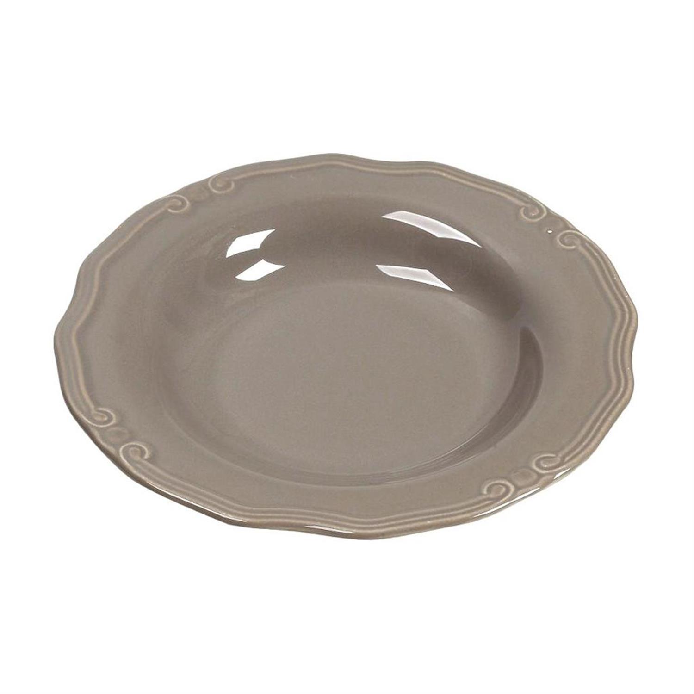 Πιάτο βαθύ Tiffany stoneware καφέ/γκρι 24x24x3.5cm Espiel RSG102K6
