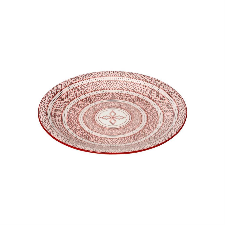 Πιάτο φρούτου Charlotte stoneware κόκκινο/λευκό 21.5×21.5×2.5cm Espiel GUI398K6
