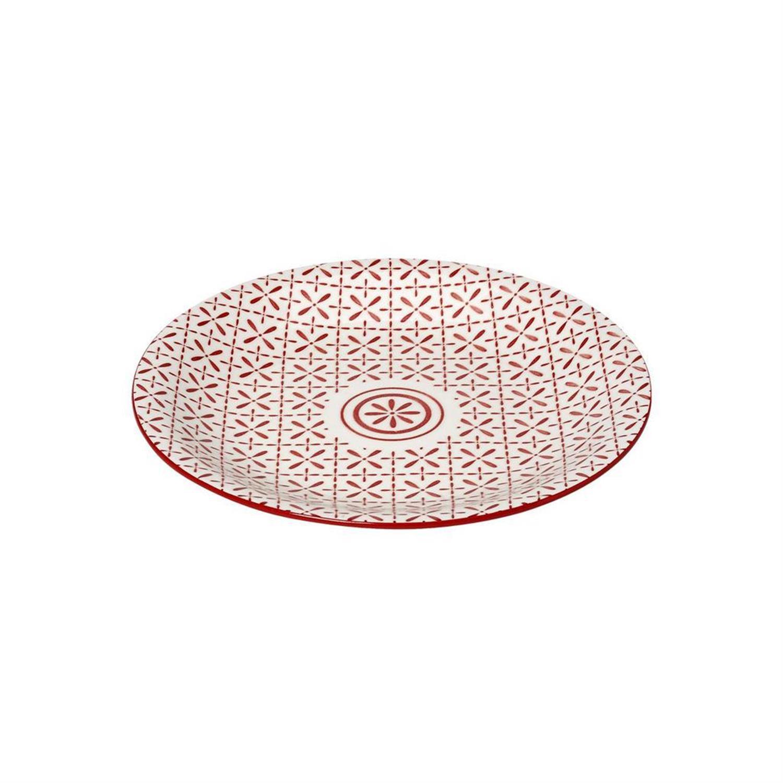 Πιάτο φρούτου Layla stoneware κόκκινο/λευκό 21.5×21.5×2.5cm Espiel GUI395K6