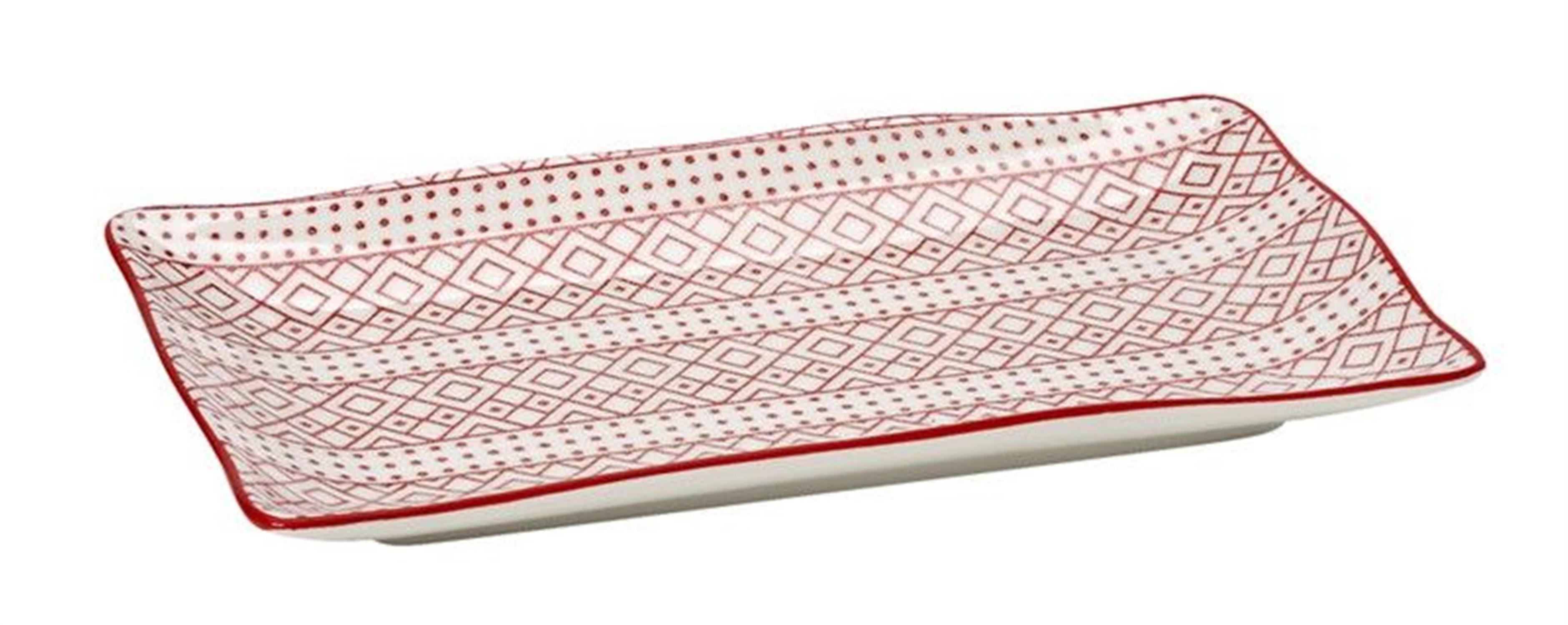 Πιατέλα σερβιρίσματος Charlotte stoneware κόκκινη/λευκή 17.8×10.3×1.5cm Espiel GUI344K6