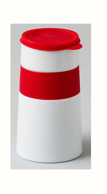 Δοχείο πορσελάνινο λευκό/κόκκινο 9x9x16cm Espiel CHU102