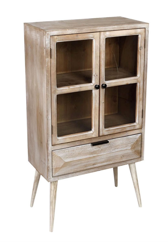 Μπουφές με βιτρίνα ξύλινος/γυάλινος natural/μπεζ 60x33x111.5cm Espiel FOP106
