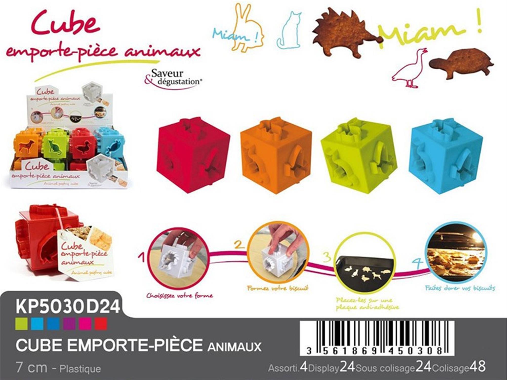 S/4 Φορμάκι μπισκότων κύβος ζωάκια πολύχρωμο 7x7x7cm Espiel KP5030