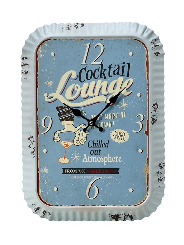 Ρολόι τοίχου cocktail lounge μεταλλικό γαλάζιο 30x5x40cm Espiel LOG233