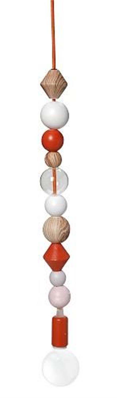 Φωτιστικό οροφής κρεμαστό μονόφωτο με 10 κεραμικές χάντρες πορτοκαλί/λευκό 5x5x48cm Espiel SEP119