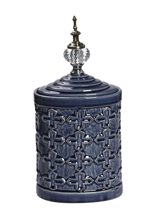 Βάζο διακοσμητικό με καπάκι κεραμικό μπλε 17x12x34cm Espiel TOL232