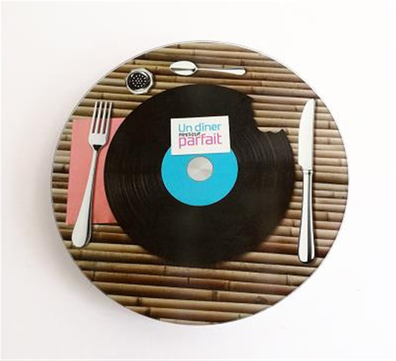 Πιατέλα σερβιρίσματος δίσκος περιστρεφόμενη γυάλινη πολύχρωμη Δ34cm Espiel UPDD2307/1