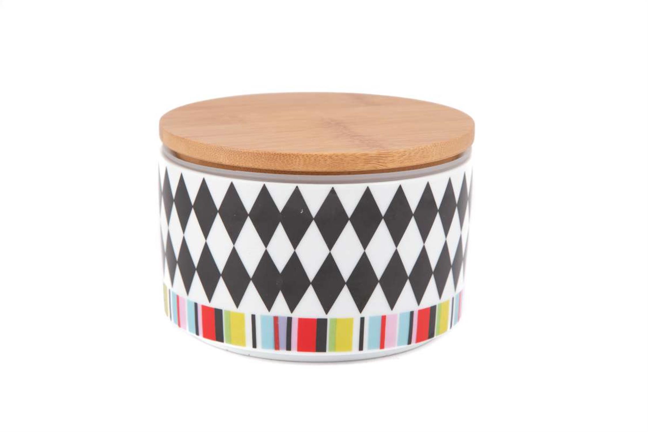Βάζο ασπρόμαυροι ρόμβοι/πολύχρωμο ριγέ με ξύλινο καπάκι Δ-14εκ