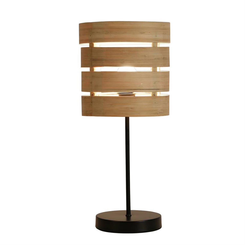 Επιτραπέζια λάμπα ξύλινη με μεταλλικό στήριγμα 46x20cm