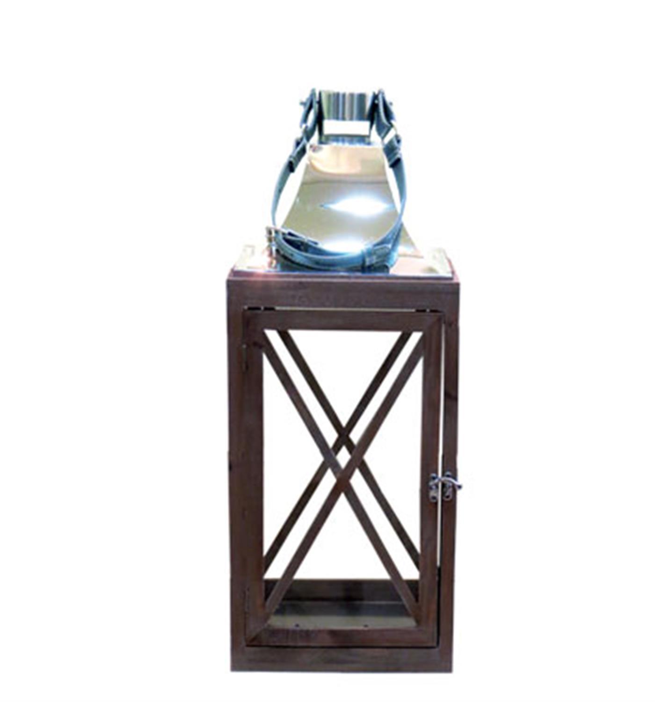 Φαναράκι ξύλινο καφέ με νίκελ και δερμάτινο χερούλι 22x22x56.5cm